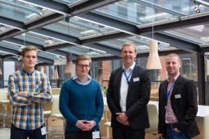 På bilden f.v Fredrik Illerstam, Adam Trowald, Johan Norling VD, Patrik Strempl HR Generalist